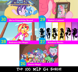 Size: 1704x1560 | Tagged: safe, artist:don2602, edit, edited screencap, screencap, applejack, cloudy quartz, fluttershy, igneous rock pie, lemon zest, limestone pie, marble pie, maud pie, pinkie pie, rainbow dash, rarity, sour sweet, starlight glimmer, sugarcoat, sunny flare, sunset shimmer, trixie, twilight sparkle, earth pony, pony, unicorn, dance magic, equestria girls, legend of everfree, pinkie pride, rainbow rocks, road to friendship, spoiler:eqg specials, caravan, clothes, dance magic (song), embrace the magic, eyes closed, female, filly, filly limestone pie, filly marble pie, filly maud pie, filly pinkie pie, graffiti, hat, inflatable, looking at each other, looking up, multiple characters, picture frame, pinkie's lament, ponied up, raft, rainbow rocks song, raised hoof, silhouette, top 100 mlp g4 songs, we're friendship bound, younger