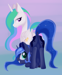 Size: 1497x1809 | Tagged: safe, artist:dusthiel, princess celestia, princess luna, alicorn, pony, :t, butt, dock, eclipse, face down ass up, featureless crotch, female, gradient background, grin, looking at you, looking back, looking back at you, mare, moonbutt, plot, rear view, royal sisters, siblings, sisters, smiling, sunbutt