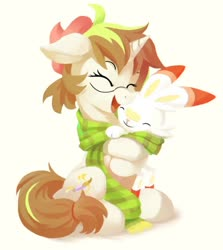 Size: 792x888 | Tagged: safe, artist:draconidsmxz, oc, oc only, pony, scorbunny, unicorn, clothes, pokémon, scarf, shared clothing, shared scarf, simple background, solo, white background