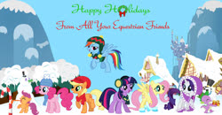Size: 900x469 | Tagged: safe, artist:nightfire3024, applejack, fluttershy, gummy, pinkie pie, rainbow dash, rarity, scootaloo, spike, twilight sparkle, dragon, earth pony, pegasus, pony, unicorn, 2020, building, candy, candy cane, christmas, female, filly, food, happy holidays, headphones, holiday, home, house, male, mane seven, mane six, mare, mountain, new year, snow, tongue out, tongue stuck to pole, wings