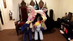 Size: 2048x1152 | Tagged: safe, artist:agatrix, artist:akiacreations, artist:blackwater627, artist:joltage, artist:neysanight, derpy hooves, fluttershy, king sombra, princess luna, queen chrysalis, rainbow dash, alicorn, pegasus, unicorn, female, irl, male, photo, pile, plushie, stack, stallion, throne