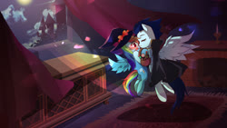Size: 1920x1080 | Tagged: safe, artist:meownstersss, rainbow dash, soarin', candle, clothes, costume, female, fireplace, halloween, halloween costume, hat, holiday, male, shipping, soarindash, straight, window, witch hat