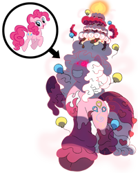 Size: 1600x1968   Tagged: safe, artist:bearmation, pinkie pie, earth pony, balloon, cake, candle, cloven hooves, crossover, dynamax, female, food, frosting, gigantamax, glowing eyes, macro, pokemon sword and shield, pokémon, simple background, solo, transparent background