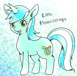 Size: 600x594 | Tagged: safe, artist:135sky, lyra heartstrings, pony, unicorn, cute, female, lyrabetes, mare, open mouth, pixiv, solo