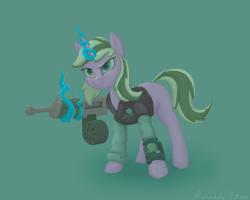 Size: 3000x2400   Tagged: safe, artist:kozachokzrotom, oc, oc:deepfeeling, pony, unicorn, gun, magic, pipbuck, police uniform, shotgun, simple background, solo, weapon