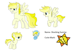 Size: 1108x810 | Tagged: safe, artist:dudleybrittany1399, artist:selenaede, oc, oc only, oc:shocking sunrise, pegasus, pony, icey-verse, baby, baby pony, base used, colt, female, flying, grin, magical lesbian spawn, male, mare, offspring, open mouth, parent:misty fly, parent:surprise, parents:mistyprise, raised hoof, raised leg, reference sheet, rule 63, simple background, smiling, solo, stallion, white background