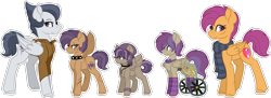 Size: 1024x372 | Tagged: safe, artist:king-justin, rumble, scootaloo, clothes, family, female, male, offspring, parent:rumble, parent:scootaloo, parents:rumbloo, rumbloo, scarf, shipping, simple background, socks, straight, striped socks, transparent background