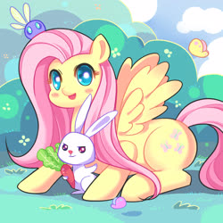 Size: 4724x4724 | Tagged: safe, artist:loki, angel bunny, fluttershy, butterfly, parasprite, pegasus, pony, rabbit, absurd resolution, animal, blushing, bush, carrot, colored pupils, cute, duo, female, food, looking at you, mare, open mouth, outdoors, pixiv, prone, shyabetes, smiling, spread wings, wings