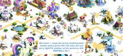 Size: 2436x1125 | Tagged: safe, applejack, azure velour, bon bon, sky beak, starlight glimmer, sweetie drops, tree of harmony, earth pony, pony, apple, apple tree, carousel boutique, cart, flag, game screencap, gameloft, gem, gramophone, magic mirror, pond, ponyville, snow, statue, super speedy cider squeezy 6000, train, train station, tree, twilight's castle, windmill