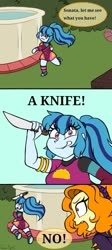 Size: 609x1355 | Tagged: safe, artist:queentigrel, sonata dusk, equestria girls, :3, blushing, comic, converse, cute, evil grin, grin, knife, meme, ponified meme, poolside, psycho, psychonata dusk, psychotic, running, shoes, smiling, sonatabetes, speech bubble, this will not end well, vine video, weapon