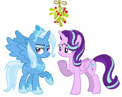Size: 1604x1272 | Tagged: safe, artist:dashievectors9000, artist:strawberry-pannycake, edit, starlight glimmer, trixie, alicorn, alicornified, christmas, female, holiday, lesbian, mistleholly, race swap, shipping, starlicorn, startrix, trixiecorn, xk-class end-of-the-world scenario