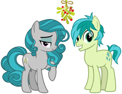 Size: 2076x1600 | Tagged: safe, artist:cheezedoodle96, edit, idw, sandbar, swift foot, christmas, fake cutie mark, hearth's warming, holiday, mistleholly, simple background, swiftbar, white background