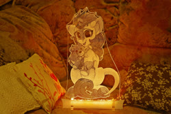 Size: 1920x1272 | Tagged: safe, artist:shadowreindeer, artist:vasgotec, autumn blaze, kirin, acrylic plastic, acrylight, craft, engraving, led, nightlight