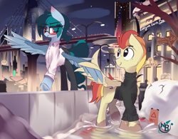 Size: 4010x3128 | Tagged: safe, artist:nevobaster, oc, oc only, oc:delta vee, oc:jet stream, balancing, blushing, bridge, city, clothes, eye clipping through hair, female, freckles, glasses, high res, holding wings, looking at each other, male, mare, mud, night, puddle, scenery, shirt, sign, snow, stallion, sweater, trousers, tsundere, turtleneck, wholesome, wing hands, wings