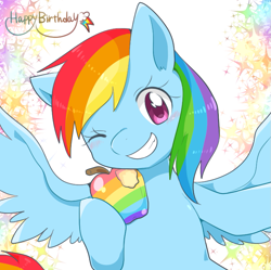 Size: 851x848 | Tagged: safe, artist:135sky, rainbow dash, pegasus, pony, apple, cute, dashabetes, female, food, looking at you, mare, one eye closed, pixiv, smiling, solo, spread wings, wings, wink, zap apple