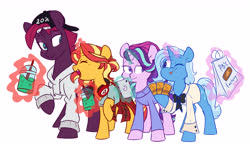 Size: 4585x2679 | Tagged: safe, artist:chub-wub, starlight glimmer, sunset shimmer, tempest shadow, trixie, pony, unicorn, alternate hairstyle, bag, baseball cap, beanie, bowtie, broken horn, cap, clothes, counterparts, crackers, cute, eye scar, female, flannel, food, glowing horn, hat, headphones, hoodie, horn, iphone, levitation, looking at each other, magic, mare, one eye closed, open mouth, peanut butter, peanut butter crackers, phone, raised hoof, scar, shirt, simple background, smoothie, starlight is not amused, sweater, t-shirt, telekinesis, twenty percent cooler, twilight's counterparts, unamused, wall of tags, white background, wink