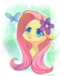 Size: 600x738 | Tagged: dead source, safe, artist:lesfrites, fluttershy, butterfly, pony, abstract background, bust, cute, female, floppy ears, flower, flower in hair, looking at something, looking up, mare, portrait, shyabetes, solo, three quarter view