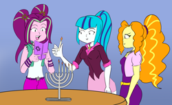 Size: 3483x2119 | Tagged: safe, artist:kazabomb, adagio dazzle, aria blaze, sonata dusk, human, equestria girls, candle, hanukkah, religion, simple background, table, the dazzlings