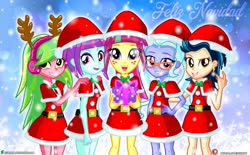 Size: 2000x1236   Tagged: safe, artist:dieart77, indigo zap, lemon zest, sour sweet, sugarcoat, sunny flare, equestria girls, adoraflare, antlers, christmas, clothes, costume, cute, deviantart logo, female, gift box, glasses, hat, headphones, holiday, looking at you, open mouth, outdoors, patreon, patreon logo, present, santa costume, santa hat, shadow five, smiling, snow, sourbetes, sugarcute, tongue out, zapabetes, zestabetes