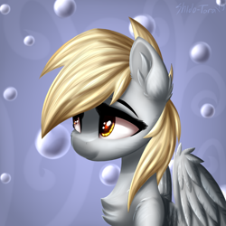Size: 2500x2500 | Tagged: safe, artist:shido-tara, derpy hooves, pegasus, pony, bubble, bust, cheek fluff, chest fluff, ear fluff, female, high res, mare, portrait, redraw, shoulder fluff, solo