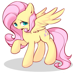 Size: 1700x1700 | Tagged: safe, artist:crazy bush, fluttershy, pegasus, pony, cute, female, looking at you, looking sideways, mare, pixiv, raised hoof, shyabetes, simple background, solo, spread wings, standing, three quarter view, white background, wings