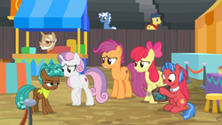 Size: 1920x1080 | Tagged: safe, screencap, apple bloom, biscuit, pokey pierce, scootaloo, spur, sweetie belle, earth pony, pony, unicorn, growing up is hard to do, spoiler:s09e22, animation error, bandana, beard, box, cutie mark, cutie mark crusaders, facial hair, female, freckles, glasses, male, mare, missing wing, older, older apple bloom, older cmc, older scootaloo, older sweetie belle, raised hoof, sitting, stallion, stool, teenager, the cmc's cutie marks, unamused, worried
