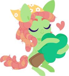 Size: 4000x4415 | Tagged: safe, artist:belka-sempai, tree hugger, earth pony, pony, absurd resolution, cute, eyes closed, female, heart, huggerbetes, mare, plushie, simple background, smiling, solo, transparent background, tree