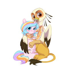 Size: 2000x2000 | Tagged: safe, artist:colorfulcolor233, artist:vistamage, oc, oc only, oc:oofy colorful, oc:vistamage, bird, griffon, secretary bird, unicorn, 2020 community collab, derpibooru community collaboration, clothes, couple, female, griffon oc, male, oofymage, scarf, shared clothing, shared scarf, shipping, simple background, straight, transparent background
