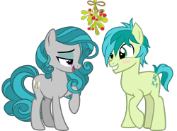 Size: 5400x4000 | Tagged: safe, artist:cheezedoodle96, idw, sandbar, swift foot, .svg available, blushing, christmas, eye contact, fake cutie mark, hearth's warming, holiday, looking at each other, mistleholly, raised hoof, shipping, simple background, smiling, svg, swiftbar, transparent background, vector