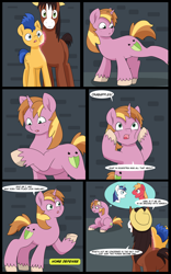 Size: 5000x8000 | Tagged: safe, artist:chedx, big macintosh, flash sentry, shining armor, trouble shoes, oc, oc:home defence, clydesdale, earth pony, pegasus, pony, unicorn, comic:the fusion flashback, butt, comic, commissioner:bigonionbean, confused, flank, forced, fuse, fused, fusion, fusion:home defence, head in hooves, magic, merging, plot, potion, swelling, talking to themself, thought bubble, writer:bigonionbean