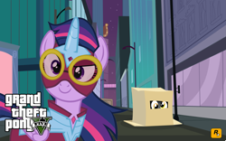 Size: 2491x1557 | Tagged: safe, derpy hooves, masked matter-horn, twilight sparkle, alicorn, box, eye, eyes, grand theft auto, gta v, logo, looking forward, maretropolis, power ponies, smiling, twilight sparkle (alicorn), wallpaper