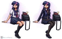Size: 3000x1893 | Tagged: safe, artist:king-kakapo, twilight sparkle, human, book, book bag, clothes, cute, duality, female, humanized, mary janes, pantyhose, plaid skirt, pleated skirt, sailor uniform, school uniform, schoolgirl, scroll, simple background, sitting, skirt, socks, solo, twiabetes, uniform, white background