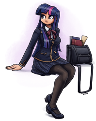Size: 1500x1893 | Tagged: safe, artist:king-kakapo, twilight sparkle, human, bag, book, book bag, clothes, cute, female, humanized, mary janes, pantyhose, plaid skirt, pleated skirt, school uniform, scroll, simple background, sitting, skirt, solo, twiabetes, white background
