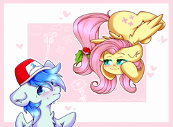 Size: 3000x2200 | Tagged: safe, artist:etoz, fluttershy, oc, oc:sports news, pegasus, blushing, canon x oc, commission, cute, female, hat, holly, holly mistaken for mistletoe, male, mare, nervous sweat, pegasus oc, shipping, stallion, straight, sweat, wingding eyes, ych result
