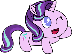Size: 1280x956 | Tagged: safe, artist:mega-poneo, starlight glimmer, pony, unicorn, cute, female, glimmerbetes, happy, jewelpet, mare, mega poneo strikes again, one eye closed, raised hoof, sanrio, sega, simple background, smiling, solo, style emulation, transparent background, vector, wink