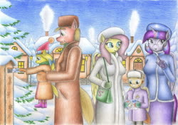 Size: 2330x1637 | Tagged: safe, artist:sinaherib, big macintosh, fluttershy, twilight sparkle, oc, oc:snow blossom, oc:summer wind, alicorn, anthro, earth pony, pegasus, christmas, clothes, coat, colt, family, father and daughter, female, filly, fluttermac, freckles, hat, holiday, letter, mailbox, male, mittens, offspring, parent:big macintosh, parent:fluttershy, parents:fluttermac, purse, santa hat, shipping, snow, straight, traditional art, twilight sparkle (alicorn), winter outfit