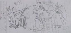 Size: 1024x485 | Tagged: safe, artist:horsesplease, gallus, ponyta, doodle, lapis lazuli (steven universe), pokémon, shaking, steven universe, traditional art, walking campfire
