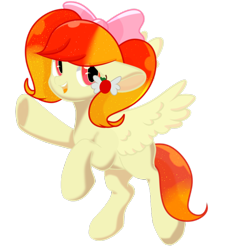 Size: 800x848   Tagged: safe, artist:sweet sugar, oc, oc only, oc:apple sheep, pegasus, pony, 2020 community collab, derpibooru community collaboration, bow, female, hair bow, looking at you, simple background, solo, transparent background
