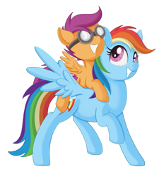 Size: 1208x1301 | Tagged: safe, artist:allyster-black, rainbow dash, scootaloo, pegasus, pony, cute, duo, female, filly, goggles, mare, piggyback ride, ponies riding ponies, riding, scootalove, simple background, smiling, white background
