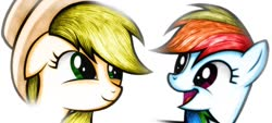Size: 1280x576 | Tagged: source needed, safe, artist:names76, applejack, rainbow dash, pony, simple background, smiling, white background