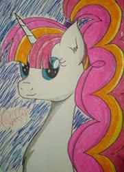 Size: 783x1080 | Tagged: safe, artist:onlymeequestrian, oc, oc only, oc:brightfull flux, pony, unicorn, solo, traditional art