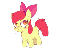 Size: 1402x1225 | Tagged: safe, artist:stuwor-art, apple bloom, earth pony, pony, adorabloom, blank flank, blushing, colored pupils, crying, cute, simple background, solo, white background