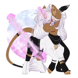 Size: 1024x1024 | Tagged: safe, artist:sadelinav, oc, oc:kripta, pony, unicorn, female, magic, mare, simple background, solo, sword, transparent background, weapon