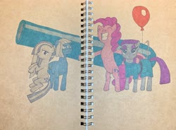 Size: 3656x2690 | Tagged: safe, artist:short tale, limestone pie, marble pie, maud pie, pinkie pie, earth pony, balloon, hand drawing, hug, markers, notebook, party cannon, pie family, traditional art