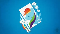 Size: 1280x720 | Tagged: safe, artist:createvi, rainbow dash, cloud, cutie mark, part of a set, solo, wallpaper