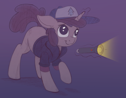 Size: 2129x1659 | Tagged: safe, artist:allyster-black, pony, unicorn, cap, clothes, dark, dipper pines, flashlight (object), gravity falls, hat, magic, night, ponified, sketch, solo, telekinesis