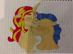 Size: 2592x1936 | Tagged: safe, artist:stevonnieishere, flash sentry, sunset shimmer, female, flashimmer, lined paper, male, shipping, straight, traditional art