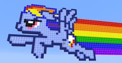 Size: 1024x530 | Tagged: safe, rainbow dash, pegasus, pony, minecraft, minecraft pixel art, photo, pixel art
