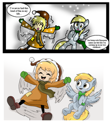 Size: 2346x2634 | Tagged: safe, artist:neoncabaret, derpy hooves, oc, oc:mel, human, comic:derpy's wish, clothes, comic, comparison, draw this again, eyes closed, open mouth, redraw, remake, scarf