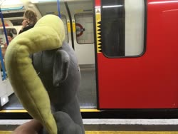 Size: 1024x768 | Tagged: safe, derpy hooves, pegasus, door, irl, london, london underground, metro, photo, plushie, tube, victoria station